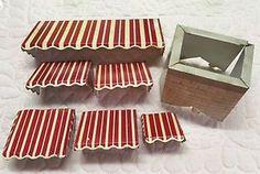 6 RARE Marx 1952 Tin Litho Metal Dollhouse Awnings Red White Stripped Chimney | eBay