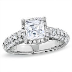 2-1/2 CT. T.W. Certified Framed Princess-Cut Diamond Engagement Ring in 14K White Gold