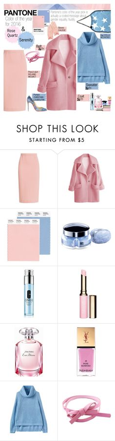"""""""Pantone color of the year for 2016 - Rose quarz & Serenity"""" by naki14 ❤ liked on Polyvore featuring mode, Roland Mouret, Thierry Mugler, Clinique, Clarins, Shiseido en Yves Saint Laurent"""