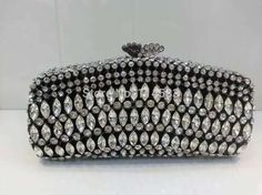 69.00$  Watch here - http://alilzs.worldwells.pw/go.php?t=32331622060 - 8245BK Crystal lady fashion Wedding Bridal Party Night BLACK Metal Evening purse clutch bag handbag case 69.00$