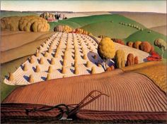 Haying Grant Wood (February 1891 – February was an American painter born four miles east of Anamosa, Iowa. He is best known for his paintings depicting the rural American Midwest, particularly the painting American Gothic, an iconic image of the century. Grant Wood Paintings, Farm Paintings, Modern Paintings, Landscape Art, Landscape Paintings, Landscape Sketch, Artist Grants, Bg Design, Event Design