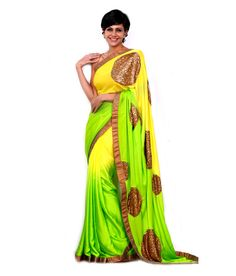 Mandira Bedi Yellow Pure Georgette Saree, http://www.snapdeal.com/product/mandira-bedi-yellow-pure-georgette/625720456696
