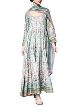 Shop Anita Dongre Sage Green sanchaari modal printed kurta with chanderi silk churidar & modal silk mullmull dupatta , Exclusive Indian Designer Latest Collections Available at Aza Fashions Indian Wedding Outfits, Indian Outfits, Indian Attire, Indian Wear, Pakistani Dresses, Indian Dresses, Bridal Anarkali Suits, Chic Summer Style, Indian Designer Outfits
