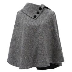 "The classic cut cape has an elegant drape and measures approximately 49"" wide by 29"" long for a one size fits most design. Please note that this is a shorter style poncho. The wrap features a wide neck with three large buttons for fastening as well as a depth of style. Crafted from 100% wool tweed, this fashionable poncho is guaranteed to provide warmth, comfort and last you for years to come."