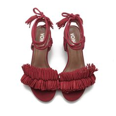 Yoins Red Block Heel Pointed Open Toe Lace-up Strap Sandals With... ($41) ❤ liked on Polyvore featuring shoes, sandals, tassel sandals, fringe sandals, block heel shoes, red fringe shoes and pointed shoes