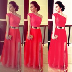 2014 Hot Selling A-Line Floor Length Appliques One Shoulder Sleeveless Empire Lace Prom Dress Plus Size Party Dresses Limited