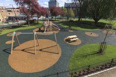 Playground flooring solution at Camberwell Green - PlaySmart UK Aquaguard Flooring, Outdoor Flooring, Playground Flooring, Modern Playground, Playground Ideas, Public Space Design, Public Spaces, Transition Flooring, Urban Design