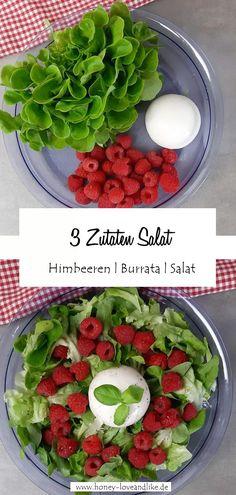 Heute gibt es Himbeeren und Burrata auf grünem Salat. Ich schwöre dir, diese Kombination aus süß und herzhaft schmeckt einfach weltklasse. #Burrata #Salat