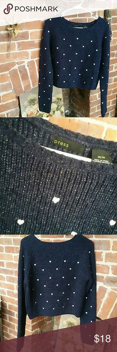 ^^EUC^^Navy Blue Sweater w/ Heart Detail Never worn. Selling this adorable sweater from Press. ~ It has sort of a cropped feel with long sleeves  ~ Made of Acrylic, Polyester & Wool Press Sweaters