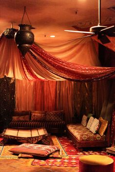 moroccan themed wedding lounge We could put pillows on the floor, in addition to…