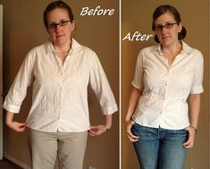 Basic method for taking in a too-big button-down shirt