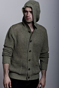 Marled Open Stitch Long Sleeve Hoodie Button Front Patch Pockets Ribbed Trim Cotton Imported