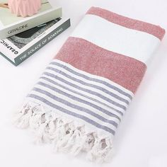 Wide Striped Cotton Turkish Towel (3 Colours) - Best Stripes Scarves Striped Striped Collection Stripes - Accessories