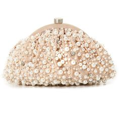 Santi Imitation Pearl Clutch ($218) ❤ liked on Polyvore featuring bags, handbags, clutches, santi, beige handbags, santi clutches, beige purse and santi purse