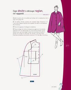 modelist kitapları: Le-Modelisme-de-Mode-Vol-2 Easy Sewing Patterns, Coat Patterns, Blouse Patterns, Sewing Tutorials, Clothing Patterns, Sewing Coat, Sewing Pants, Sewing Clothes, Cape Pattern