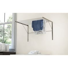 Hanging Clothes Drying Rack, Wall Mounted Drying Rack, Hanging Bar, Hanging Racks, Pants Rack, Crown Point, Laundry Room Organization, Steel Wall, Tidy Up