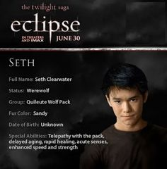 Seth is Juliet's imprint Twilight Wolf Pack, Twilight Poster, Twilight Jokes, Twilight Pictures, Twilight Series, Twilight Movie, The Twilight Saga Eclipse, Twilight Edward, False Facts