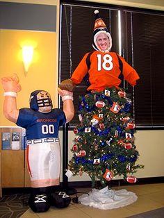 wonderfull to see Christmas Tree Decorations, Christmas Trees, Peyton Manning, I Love To Laugh, Denver Broncos, Ronald Mcdonald, Football, Mantels, Sports