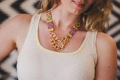 Priestess - Woven bead necklace with chunky gold chain (orange, pink and yellow). Limited edition Worship collection.