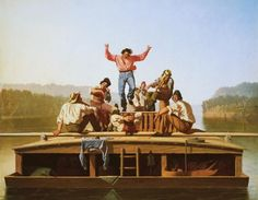 George Caleb Bingham (American, The Jolly Flatboatmen, Oil on canvas. National Gallery of Art, Washington. On view in Rhythm & Roots: Dance in American Art, opening at the DAM July William Turner, Claude Monet, Canvas Art, Canvas Prints, Art Prints, Canvas Paintings, Mma, Caleb, Hudson River School