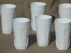 Indiana harvest grape milk glass, set of 6 vintage grapes pattern tumblers $32