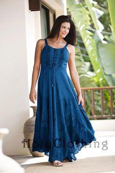 Riona Bustier Corset Empire Gypsy Peasant Boho Maxi Sun Dress - Dresses