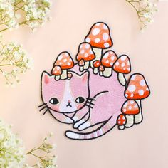 Mushroom Kitty Patch by ponyponypeoplepeople on Etsy https://www.etsy.com/listing/265940998/mushroom-kitty-patch