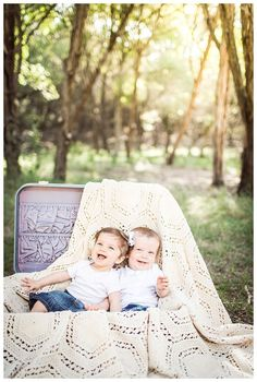 twins in a suitcase || sweet louise photography. Take a blanket and drape it over one of the benches at the park.