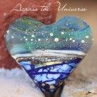 Upcycled Tequila Honeycomb Heart Handmade glass lampwork