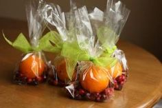 """Stove-top potpourri kits. Cute neighbor gift idea: one orange, 1/2 c cranberries, 1 Tbs whole cloves, 3 sticks cinnamon, a bit of grated nutmeg.  Instructions: """"Quarter the orange, place all in a small saucepan filled with water and simmer on lowest setting. Refill water as needed."""" by iris-flower"""