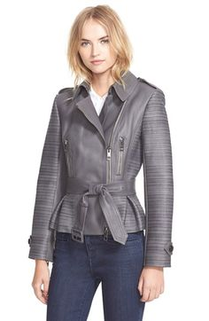 Burberry London 'Brinkburn' Belted Lambskin Leather Jacket available at #Nordstrom