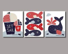 Nautical Nursery art prints baby nursery by 3000yardsofthread