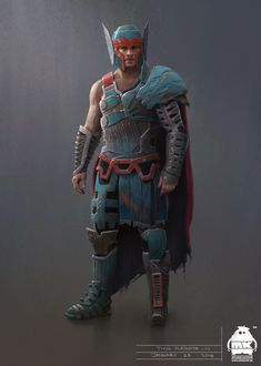 Thor: Ragnarok - Gladiator Thor Concept, Michael Kutsche on ArtStation at https://www.artstation.com/artwork/90OBO
