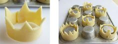 Pastry Crowns filled with Cheesecake Mousse and Glazed Banana Bits princess party food Party Box, Party Time, Party Favors, Cupcakes, Cupcake Cakes, Princess Tea Party, Princess Crowns, Prince Party, Princess Theme