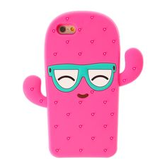 This fun phone case is in the shape of a cool sunglasses rocking pink cactus! With 3D spikes and silicone composition.