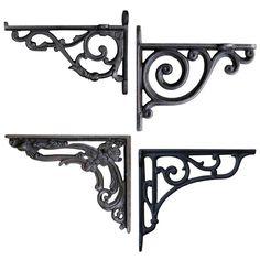 Exquisite 2 Pcs Vintage Antique Garden Rustic Braces Shelf Cast Iron Brackets