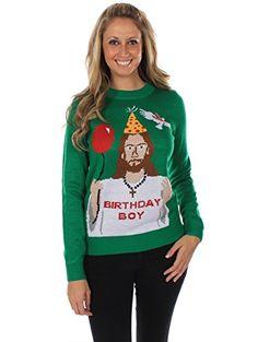 Lustiger Alles Gute zum Geburtstag, Jesus Damen-Weihnachtspullover von Tipsy Elves Tipsy Elves http://www.amazon.de/dp/B00KSF9FEY/ref=cm_sw_r_pi_dp_OlT-vb0W5K8GE