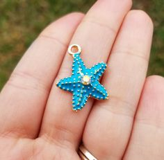 20 Pieces Starfish Gold Plated with Blue Enamel and Rhinestone, Starfish Charm, Blue Starfish Charm, Beach Charm, Ocean Charm, K00951H by MiamiCharmStore on Etsy