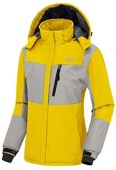 Wantdo Women s Winter Ski Jacket Mountain Waterproof Raincoat Weatherproof Winter  Thick Windcheater Hoodie for Driving(Yellow +…  f1e1141bc