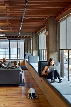 This window seat is in an office in San Francisco, California, designed by IWAMOTOSCOTT ARCHITECTURE.