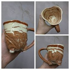 Here's a new earthenware mug swirled red terracotta and white earthenware I just unloaded from the kiln. It's wheel thrown and carved. I modified the round shape to make it more like a clover.  by c_c_ceramics