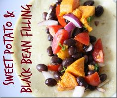 I love this sweet potato and black bean filling because 1) It's super easy to make; and 2) You can use it in so many fun ways.  I like to roll it up in corn tortillas, as shown above, but you can stuff it into burritos with lettuce, add it to a cheesy quesadilla, serve it over rice, or even eat it with tortilla chips.