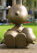 The creator of Snoopy, Charles M. Schulz, was born in Minnesota and raised in St. Paul  Statues of characters from his comic Peanuts can be found around the town, including in Landmark Plaza.