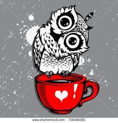 Cute Owl/Vector Owl/cartoon bird/t-shirt design owl/ grunge background with bird / owl hipster print/owl character/Owl with coffee/hand drawn owl