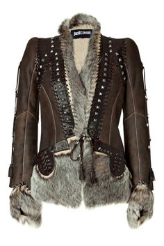 JUST CAVALLI Chocolate Boho Leather And Fur Combo Jacket and other apparel, accessories and trends. Browse and shop 12 related looks. Shearling Jacket, Fur Jacket, Brown Jacket, Steampunk Vetements, Looks Country, Fashion Moda, Womens Fashion, Studded Leather, Real Leather
