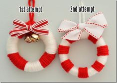 this would be great for the kids.mini wreath tutorial out of shower curtain rings and scrap yarn and ribbon. Kids Christmas Ornaments, Holiday Crafts For Kids, Xmas Crafts, Christmas Crafts, Christmas Decorations, Kids Ornament, Yarn Crafts, Handmade Christmas, Christmas Tree
