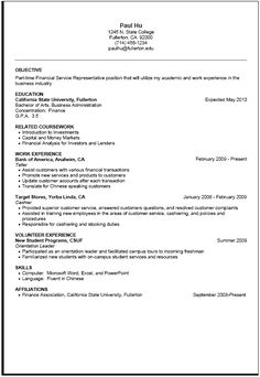first time resume samples