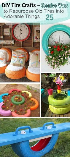 "DIY Tire Crafts – Creative Ways to Repurpose Old Tires Into Adorable Things"", ""For the old tires in the back yard"", ""Discover thousands of imag Outdoor Projects, Garden Projects, Diy Projects, Garden Ideas, Backyard Ideas, Recycled Crafts, Diy And Crafts, Diy Deco Rangement, Tire Craft"