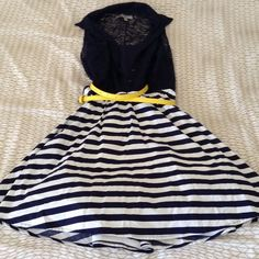 """Navy and white striped dress Vest button down top. Came attached underneath top. Only worn once. Length around knee for someone 5'4"""". In perfect condition. Tulle slip attached underneath. Party of Charlotte Russe Bailey Blue collection. Charlotte Russe Dresses Midi"""