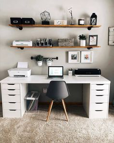 homedecor office Modern Home Office Design Ideas. Therefore, the demand for home offices.Whether you are intending on adding a home office or renovating an old area right into one, below are some brilliant home office design ideas to aid you get started. Study Room Decor, Cute Room Decor, Room Ideas Bedroom, Home Decor Bedroom, Home Study Rooms, Ikea Bedroom, Home Office Setup, Home Office Space, Ikea Office